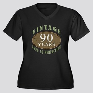 Vintage 90th Birthday Women's Plus Size V-Neck Dar