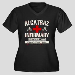 ALCATRAZ INFIRMARY Women's Plus Size V-Neck Dark T