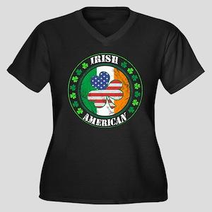 Irish Americ Women's Plus Size V-Neck Dark T-Shirt