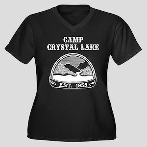 Camp Crystal Lake Women's Plus Size V-Neck Dark T-