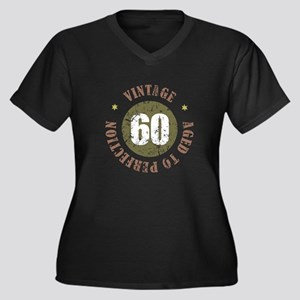 60th Vintage birthday Women's Plus Size V-Neck Dar