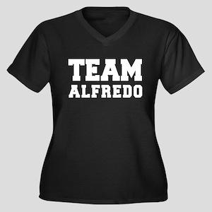 TEAM ALFREDO Women's Plus Size V-Neck Dark T-Shirt