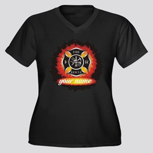 Personalized Fire and Rescue Plus Size T-Shirt