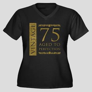 Fancy Vintage 75th Birthday Women's Plus Size V-Ne