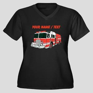 Custom Red Fire Truck Plus Size T-Shirt