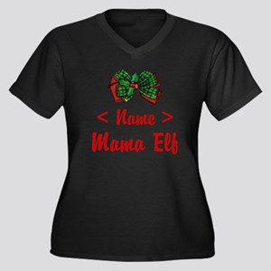 Personalized Mama Elf Women's Plus Size V-Neck Dar