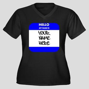 Custom Blue Name Tag Plus Size T-Shirt