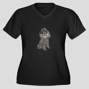 Poodle (Min- Women's Plus Size V-Neck Dark T-Shirt