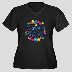 Camping Happ Women's Plus Size V-Neck Dark T-Shirt