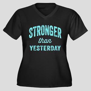 Stronger Tha Women's Plus Size V-Neck Dark T-Shirt