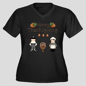 Happy Thanksgiving Pilgrims and Turkey Plus Size T