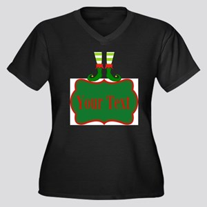 Personalizable Christmas Elf Feet Plus Size T-Shir