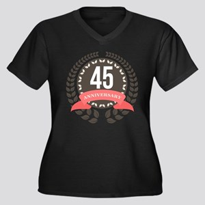 45Years Anni Women's Plus Size V-Neck Dark T-Shirt