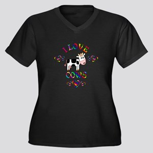 I Love Cows Women's Plus Size V-Neck Dark T-Shirt