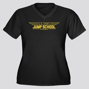US Army Jump Women's Plus Size V-Neck Dark T-Shirt