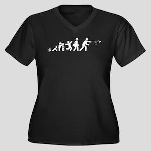 Paper Plane Women's Plus Size V-Neck Dark T-Shirt