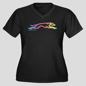 Rainbow Greyhound Women's Plus Size V-Neck Dark T-