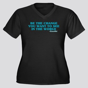 Be The Change You Want Women's Plus Size V-Neck Da