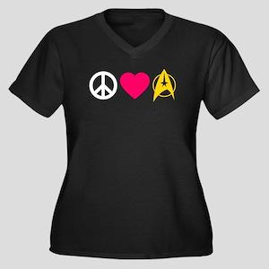Peace Love Trek Women's Plus Size V-Neck Dark T-Sh