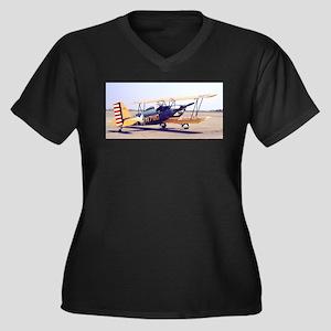Bi-Plane 3 Women's Plus Size V-Neck Dark T-Shirt