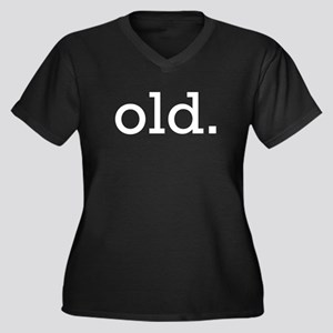 Old Women's Plus Size V-Neck Dark T-Shirt