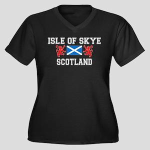 Isle of Skye Women's Plus Size V-Neck Dark T-Shirt