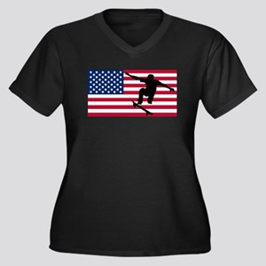Skateboarding American Flag Plus Size T-Shirt