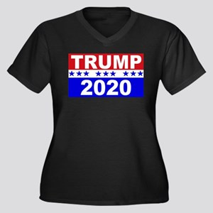 Trump 2020 Women's Plus Size V-Neck Dark T-Shirt