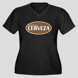 Powered By Cerveza Women's Plus Size V-Neck Dark T