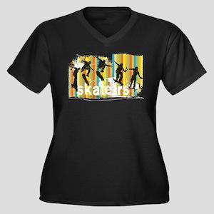Ink Sketch of Skateboarder Progr Plus Size T-Shirt