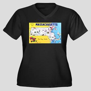 Massachussetts Map Greetings Women's Plus Size V-N