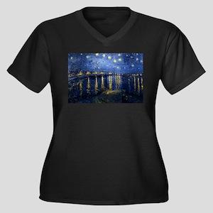 Starry Night Over the Rhone Women's Plus Size V-Ne