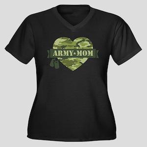 Camo Heart A Women's Plus Size V-Neck Dark T-Shirt