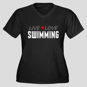 Live Love Swimming Women's Dark Plus Size V-Neck T