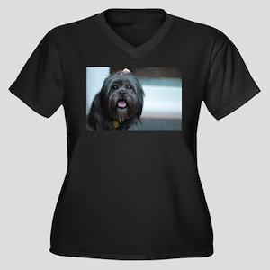 smiling lhasa type dog Plus Size T-Shirt
