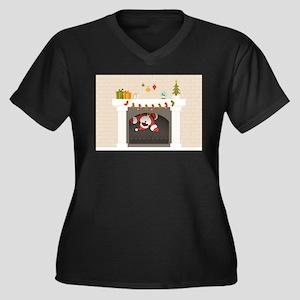 black santa stuck in fireplace Plus Size T-Shirt