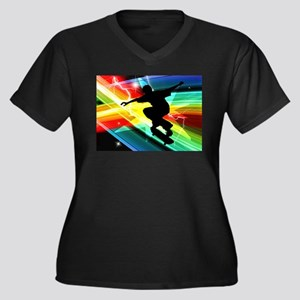 Skateboarder in Criss Cross Ligh Plus Size T-Shirt