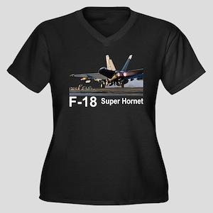 F-18 Super Hornet Women's Plus Size V-Neck Dark T-
