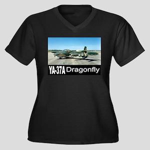 A-37 Dragonfly Women's Plus Size V-Neck Dark T-Shi