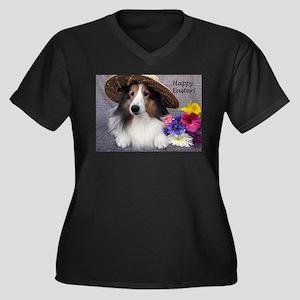Happy Easter Women's Plus Size V-Neck Dark T-Shirt
