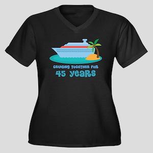 45th Anniversary Cruise Women's Plus Size V-Neck D