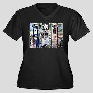 route_66 Women's Plus Size V-Neck Dark T-Shirt
