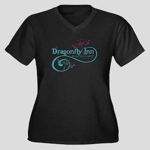 Dragonfly Inn Women's Plus Size V-Neck Dark T-Shir