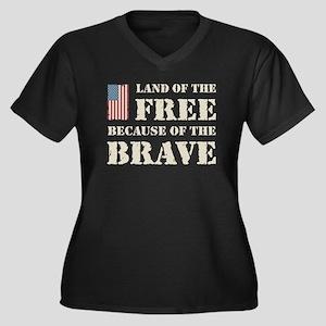 Land of the Free Women's Plus Size V-Neck Dark T-S