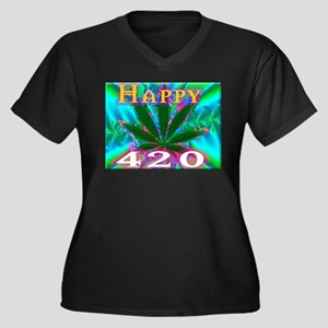 happy 420 Plus Size T-Shirt