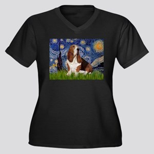 Starry Night & Basset Women's Plus Size V-Neck Dar