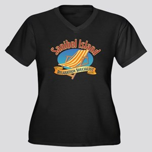Sanibel Isla Women's Plus Size V-Neck Dark T-Shirt