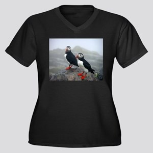 Puffins Keeping Watch Women's Plus Size V-Neck Dar