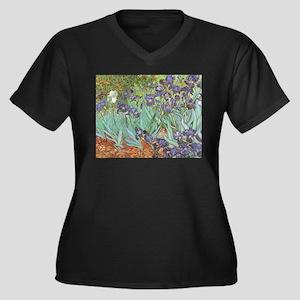 Van Gogh Irises Women's Plus Size V-Neck Dark T-Sh