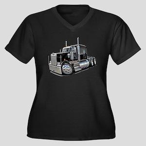 Kenworth W900 Black Truck Women's Plus Size V-Neck
